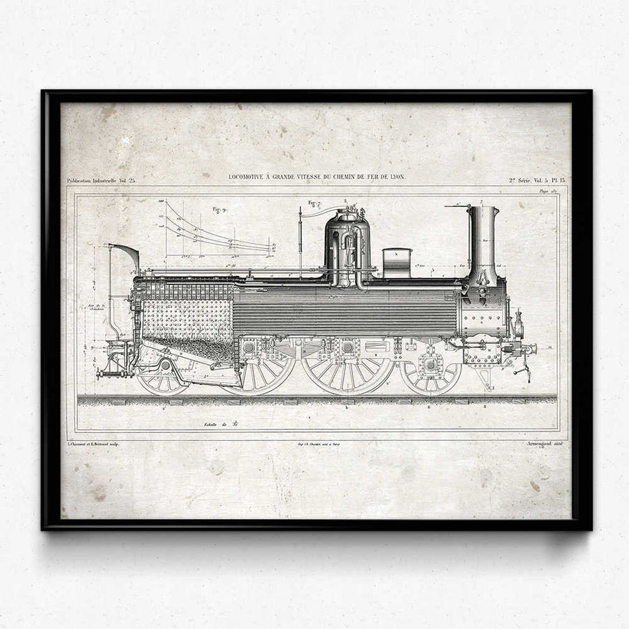 Shop for Train Vintage Print 3 - Trains Poster - Orion Wells