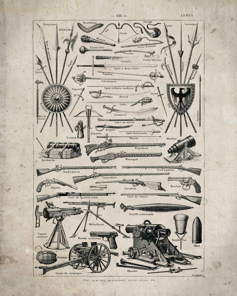 Armory Weapons Vintage Print 1 - VP1053 - Orion Wells