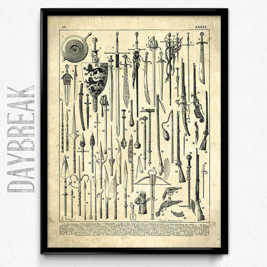 Osta Armory Weapons Vintage Print 3 - VP1055 - Orion Wells