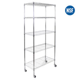 5-Tier  Metal Wire Shelving-Chrome