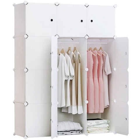 12-Cube Portable Closet, Plastic Wardrobe with Doors & 2 Hangers