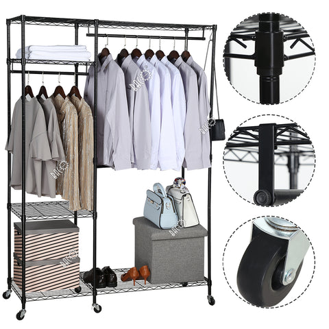 free standing closet garment rack bacoeng. Black Bedroom Furniture Sets. Home Design Ideas