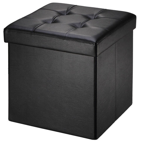 "Brian & Dany 30L"" Faux Leather Folding Storage Ottoman Bench(Black)"