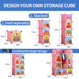 12-cube Cartoon Portable Closet (Pink/Blue)