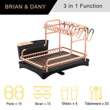 Aluminum Dish Rack Double layer (Rose Gold)