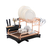 Double layer Dish Drying Rack (Rose Gold & Silver)