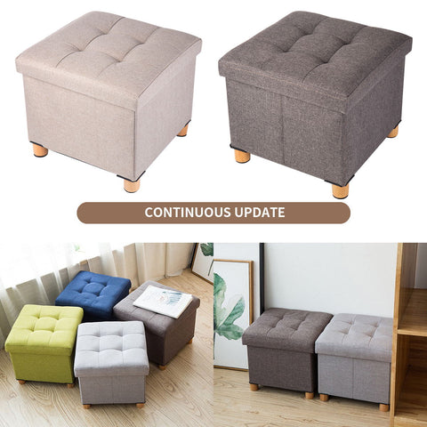 Folding Ottoman Storage Box with Wood Legs