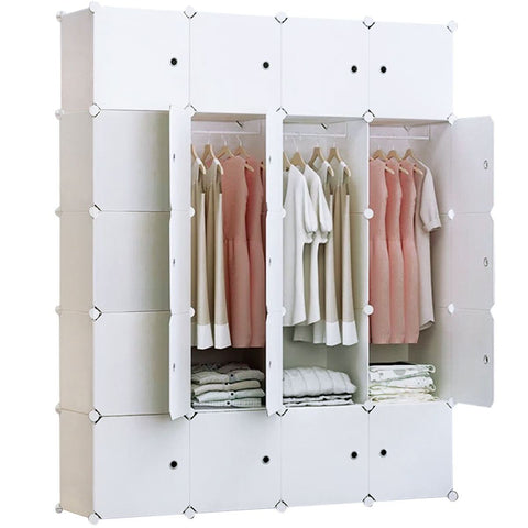 20-Cube Portable Closet, Plastic Wardrobe with Doors & 4 Hangers