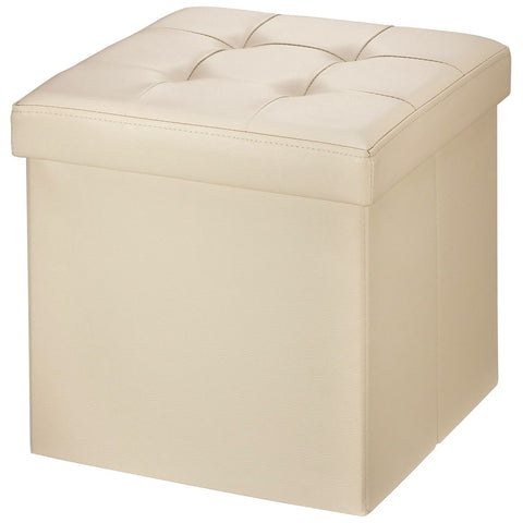 "Brian & Dany 30L"" Faux Leather Folding Storage Ottoman Bench(BEIGE)"