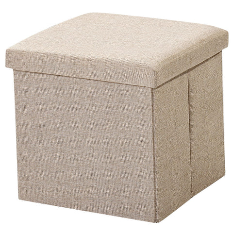 Brian & Dany  Foldable Storage Ottoman Charcoal Faux Linen(Beige)