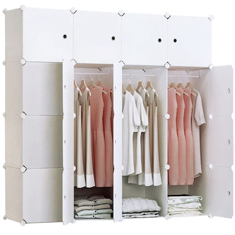 16-Cube Portable Closet, Plastic Wardrobe with Doors & 3 Hangers