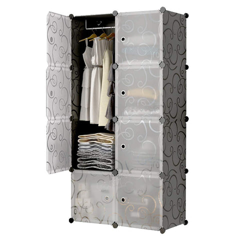 8-Cube Portable Closet, Plastic Wardrobe with Doors & 1 Hanger