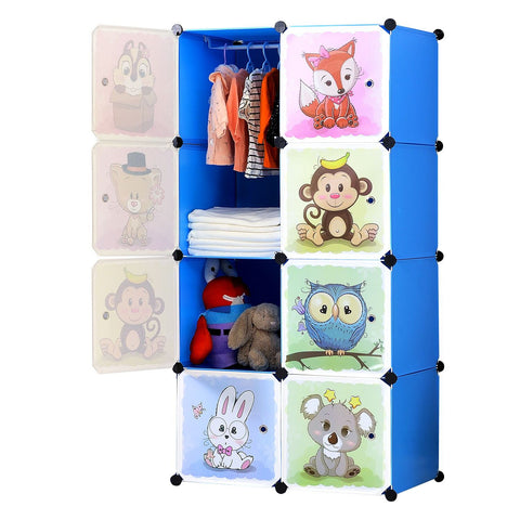 8-Cube Cartoon Portable Closet (Pink/Blue)