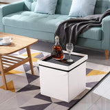 "30L"" Faux Leather Folding Storage Ottoman Bench(White)"