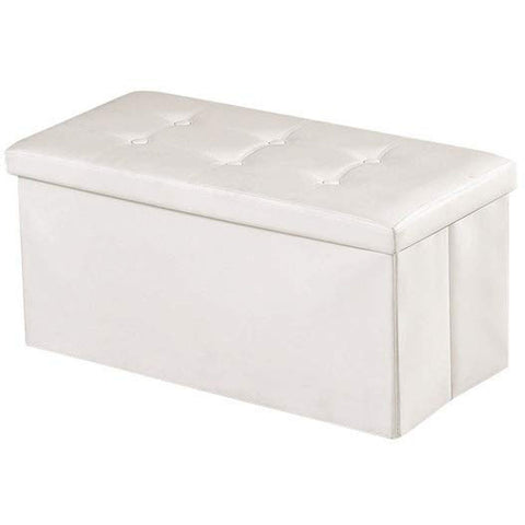 "Brian & Dany 30L"" Faux Leather Folding Storage Ottoman Bench(White)"