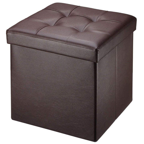 "Brian & Dany 30L"" Faux Leather Folding Storage Ottoman Bench(Brown)"