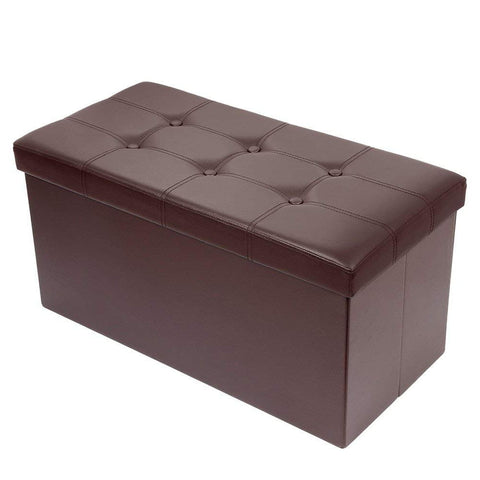 Enjoyable Brian Dany 30L Faux Leather Folding Storage Ottoman Bench Brown Pabps2019 Chair Design Images Pabps2019Com