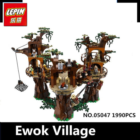 1990pcs Lepin 05047 Star Ewok Village Wars Building Blocks Juguete para Construir Bricks Toys 10236 Gifts