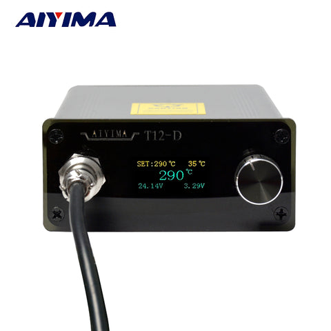 110V 220V OLED T12 Digital Soldering Iron Station Temperature Controller 72W With EU Plug + T12 Handle New
