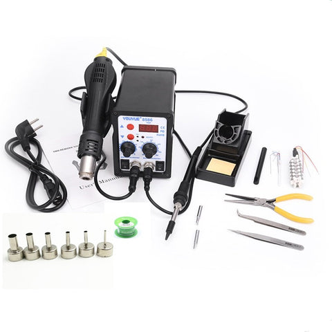8586 2 In 1 ESD Hot Air Gun Soldering Station Welding Solder Iron For IC SM D Desoldering+Heating core+Tin wire+ 6pcs nozzles