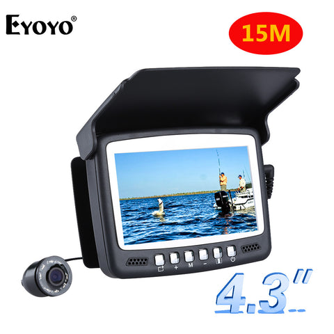"15M 1000TVL Fish Finder Underwater Ice Fishing Camera 4.3"" LCD Monitor 8 LED Night Vision Camera For Fishing"