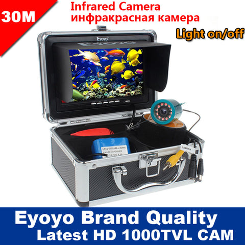 "Original 30M 1000TVL Fish Finder Underwater Fishing 7"" Video Camera Monitor AntiSunshine Shielf Sunvisor Infrared IR LED"
