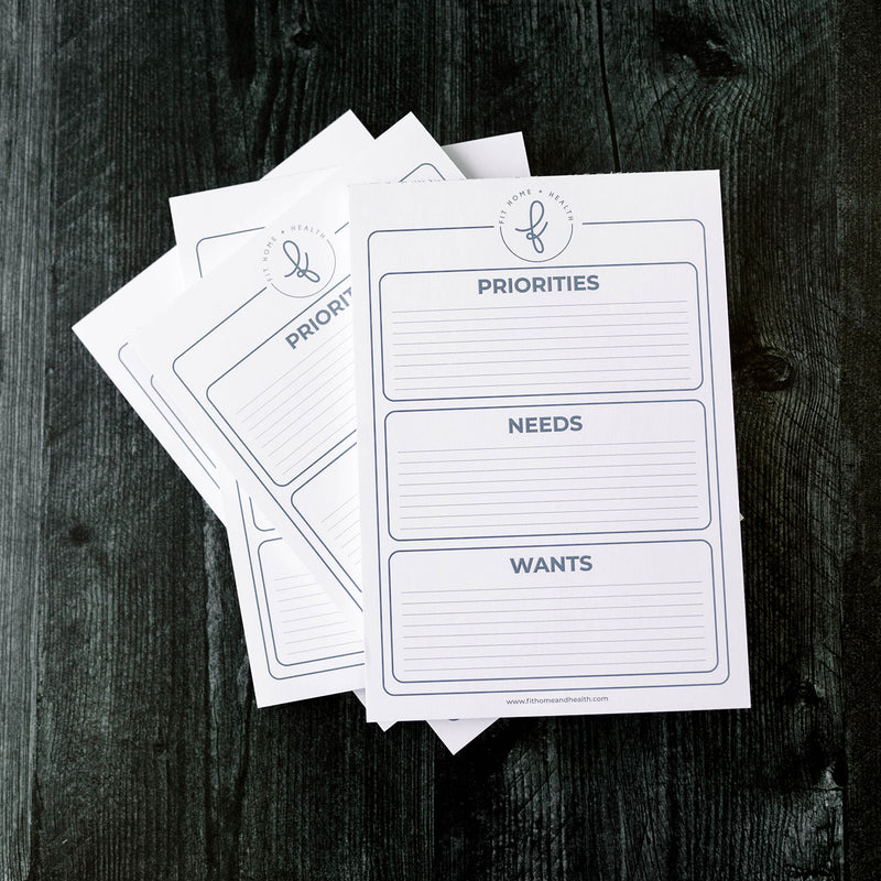 Priority, Needs & Wants Notepad