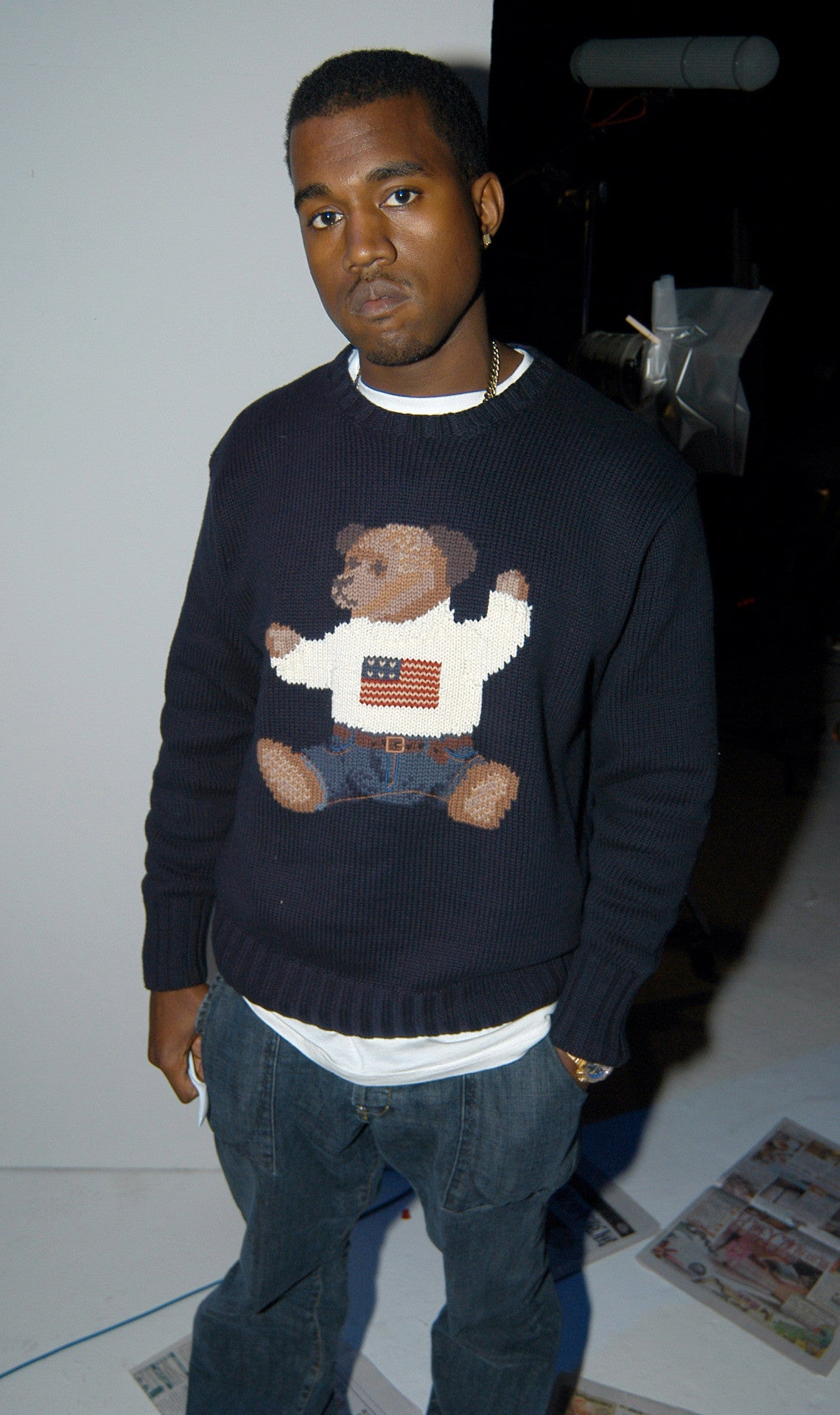 Kanye West wears a Polo Bear sweater.