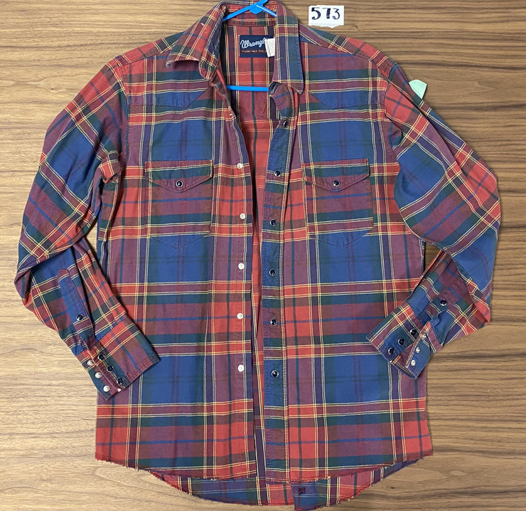 Rangler LS Plaid Snap Button Shirt - Red/Multi