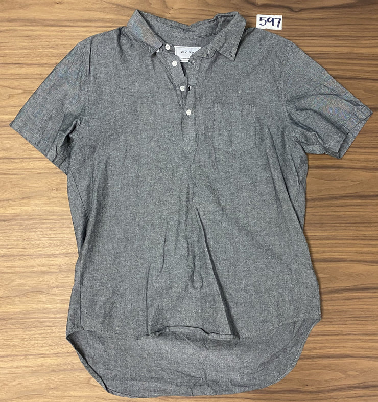 WCSP Short Sleeve Pull Over Button Up - Grey