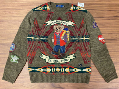 Polo Ralph Lauren National Park Polo Bear Knit Sweater - Olive