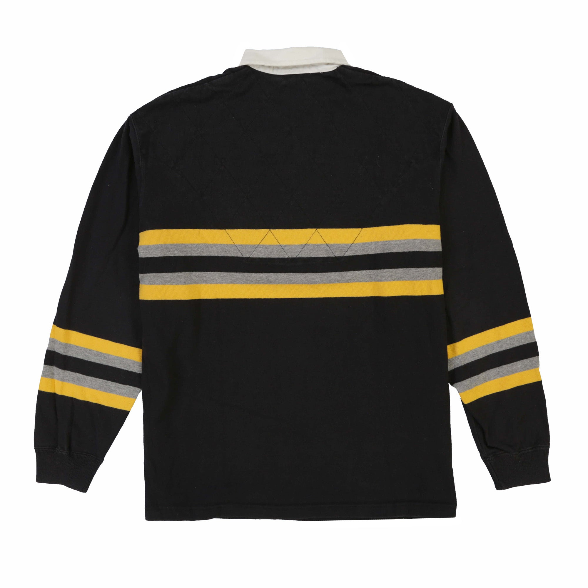 POLO SPORT SPELL OUT DIAMOND STRIPE LS POLO // BLACK YELLOW GREY