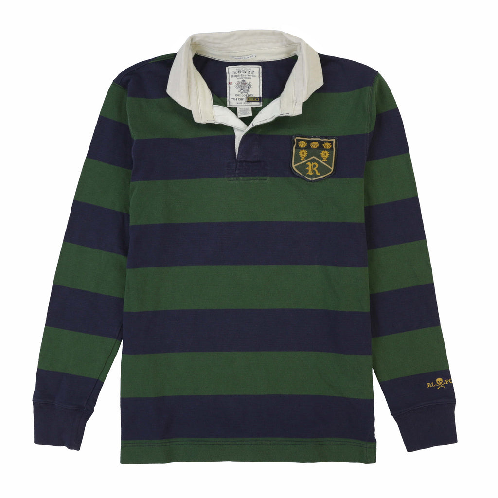 RUGBY SHELL SHIELD LS POLO // NAVY GREEN