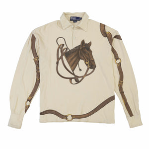 POLO EQUESTRIAN ALL OVER PRINT LS POLO // NATURAL