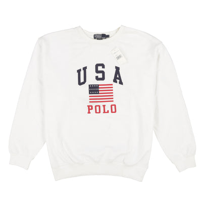 POLO SPELL OUT USA FLAG CREWNECK // WHITE