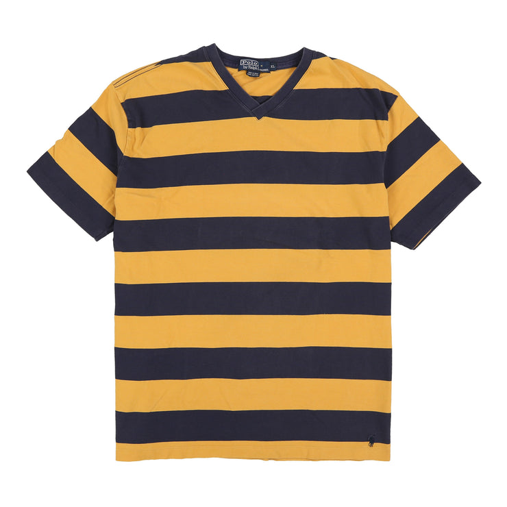POLO STRIPED V NECK TEE // BLUE YELLOW