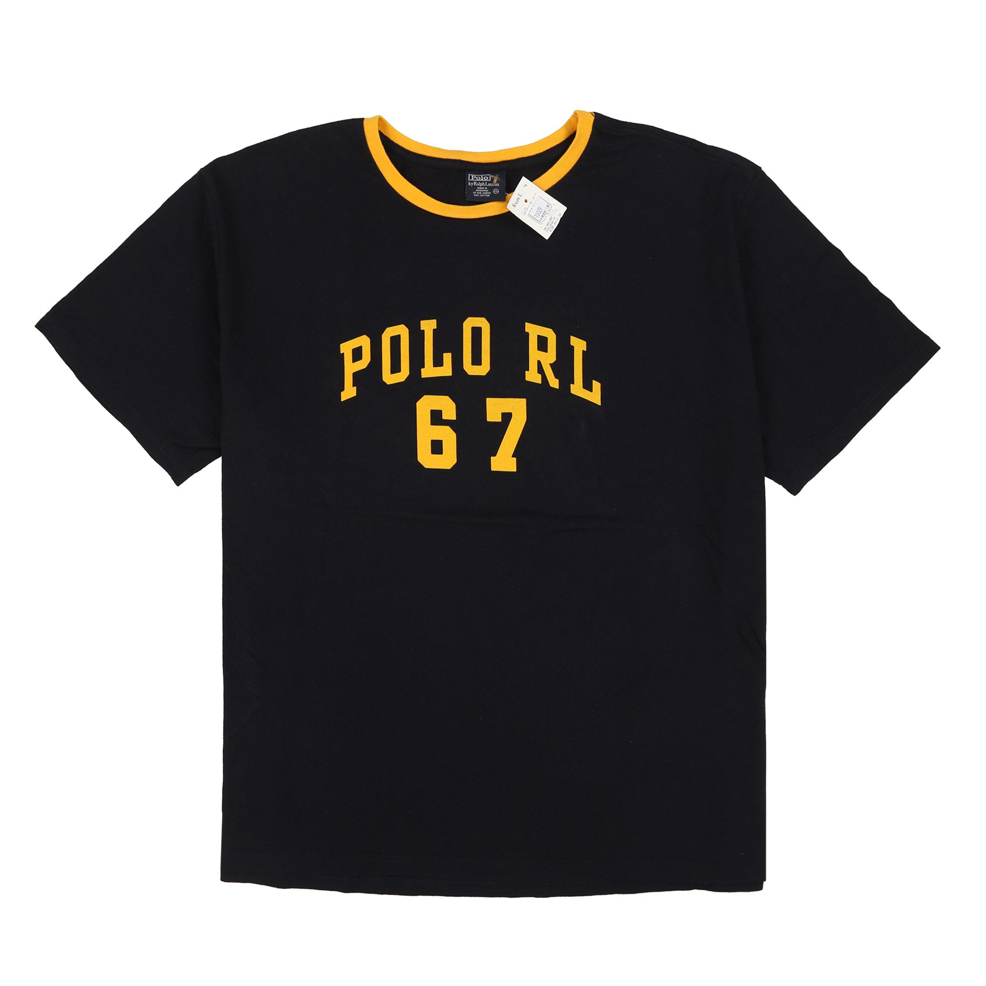 POLO RL 67 SPELL OUT RINGER TEE // NAVY YELLOW