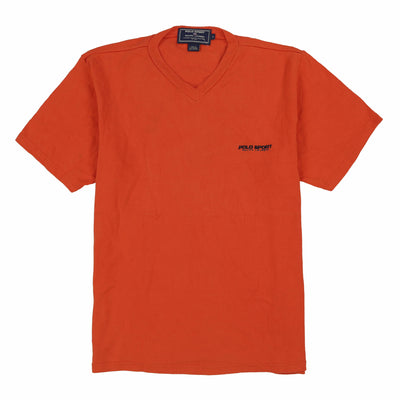 POLO SPORT EMB SPELL V NECK TEE // ORANGE