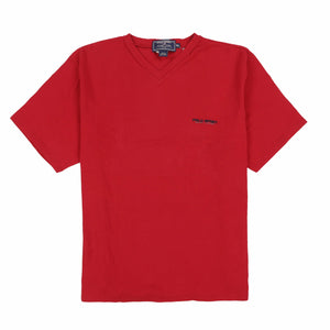 POLO SPORT EMB SPELL V NECK TEE // RED
