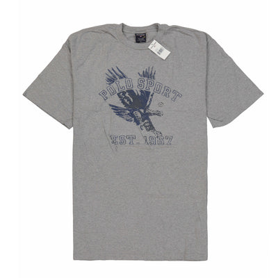 POLO SPORT EAGLE SPELL OUT LS TEE // HEATHER GREY