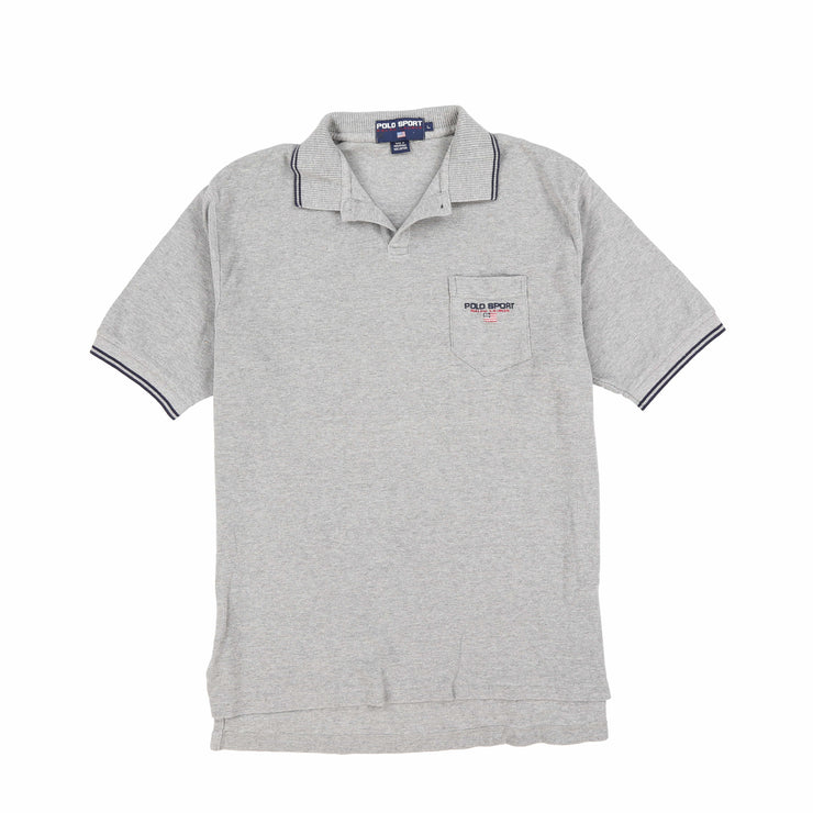 POLO SPORT EMB SPELL OUT SS POLO // HEATHER GREY