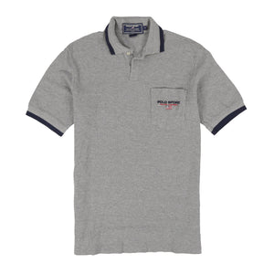 POLO SPORT EMB SPELL OUT SS POCKET POLO // GREY