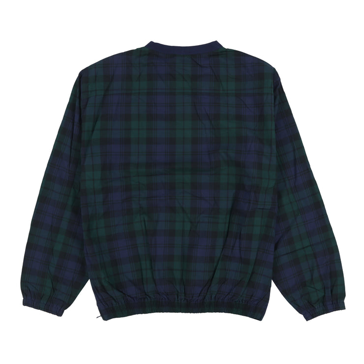 POLO GOLF PLAID VNECK ROC SWEATSHIRT // NAVY GREEN