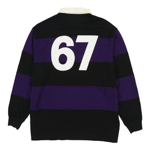 POLO 67 STRIPE LS POLO // BLACK PURPLE