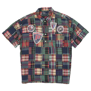 POLO MADRAS PLAID PATCHWORK LS SHIRT CUSTOM P SHIELD // MULTI