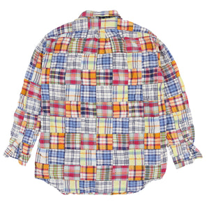 POLO MADRAS PLAID PATCHWORK LS SHIRT CUSTOM SPELL OUT // MULTI
