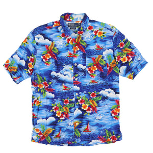 POLO FLORAL RAYON SS SHIRT // BLUE