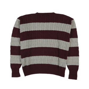 POLO CLASSICS CHAIN KNIT STRIPE SWEATER // BURGUNDY GREY