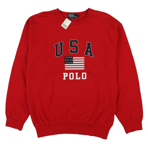 POLO SPELL OUT USA FLAG CREWNECK // RED