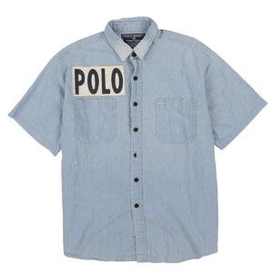 POLO SPORT SPORTSMAN CUSTOM SPELL OUT SS SHIRT // BLUE